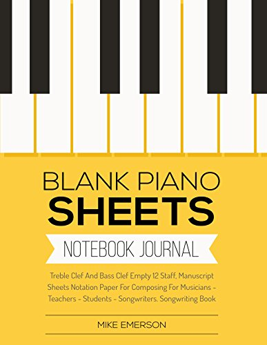 amazon com blank piano sheets treble clef and bass clef empty 12