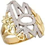 10k Two Toned Real Gold Number One Mom Love Symbol Womens Ring