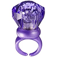 """Favores de fiesta con anillo de gema iluminado de colores variados y llenos de diversión, plástico, 1 """"x 1"""""""