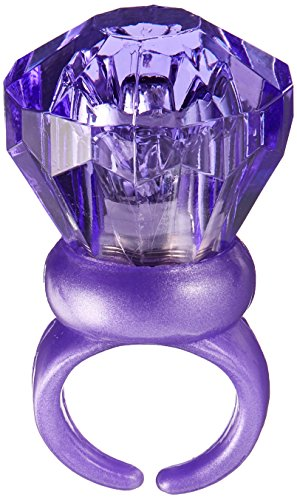 Fun-Filled Assorted Colors Light-Up Gem Ring Party Favours, Plastic, 1