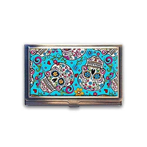 (jkfgweeryhrt Sugar Skulls Day of The Dead Custom Portable Business Bank Name Card Case Holder Box Pocket Credit Card ID Wallet)