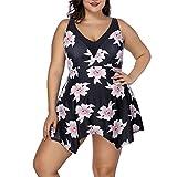 TRAINER SECRET Women's Two Piece Swimwear Dress Floral Printed Sext V Neck Swimsuit Tankini Plus Size