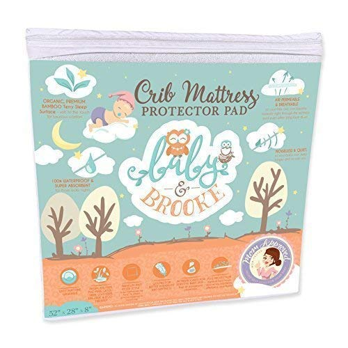 (Organic Crib Mattress Cover Pad - Waterproof and Breathable Bamboo Baby Mattress Pad - Fits ALL Standard Crib)