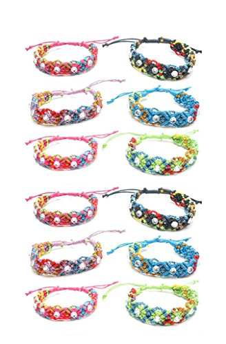 Frogsac 12 Pieces Rainbow Fancy Braid Friendship Bracelets with Stones – Slip Knot – Great Party Favors