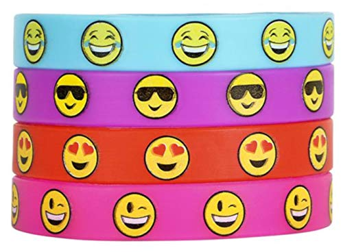OIG Brands Emoji Rubber Bracelets 36 Pack - Emoticons Silicone Wristbands for Kids Birthday Party Favors Supplies Prize Rewards, Kids Size -
