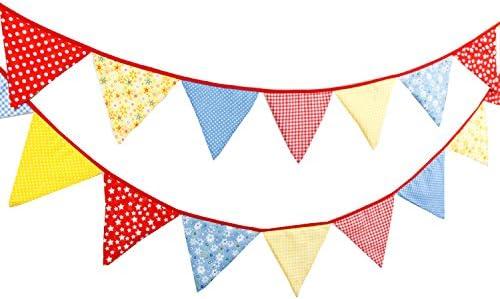 Guirnaldas de algodón tela triángulo banderas banderín cara doble bandera de la bandera para decoraciones de fiesta de cumpleaños boda decoración del empavesado de 4,3 m 18: Amazon.es: Hogar