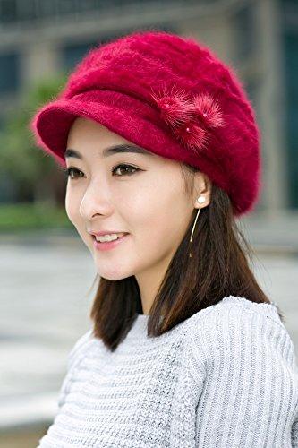 d34e6c3640d Amazon.com  Generic Korean rabbit fur hat cap women girls lady ...