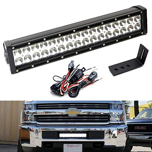 iJDMTOY Lower Grille Mount LED Light Bar Kit For 2015-up Chevy Silverado 2500 3500 HD, Includes (1) 96W High Power LED Lightbar, Lower Bumper Opening Mounting Brackets & On/Off Switch Wiring Kit ()
