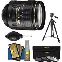 Nikon 24-120mm f/4 G VR AF-S ED Zoom-Nikkor Lens with 3 Filter Set + Tripod + Kit for D3200, D3300, D5300, D5500, D7100, D7200, D750, D810 Camera