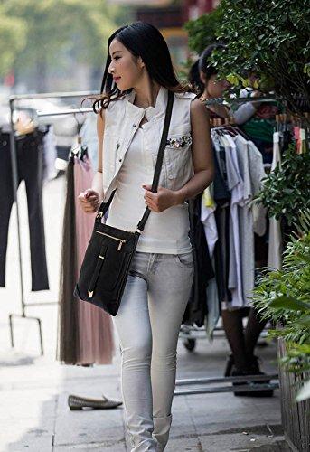 ANNA GRACE - Bolso cruzados de piel sintética para mujer Design 1 - Black
