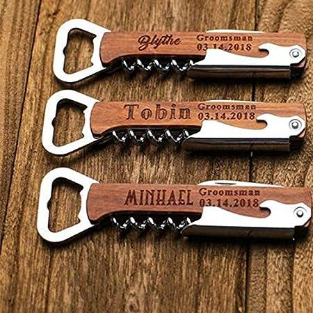 Abrelatas de sacacorchos grabado Idea de regalo para padrinos de boda Barra de cerveza personalizada Mango de madera Abridor de botellas Regalo de boda Logotipo OEM personalizado