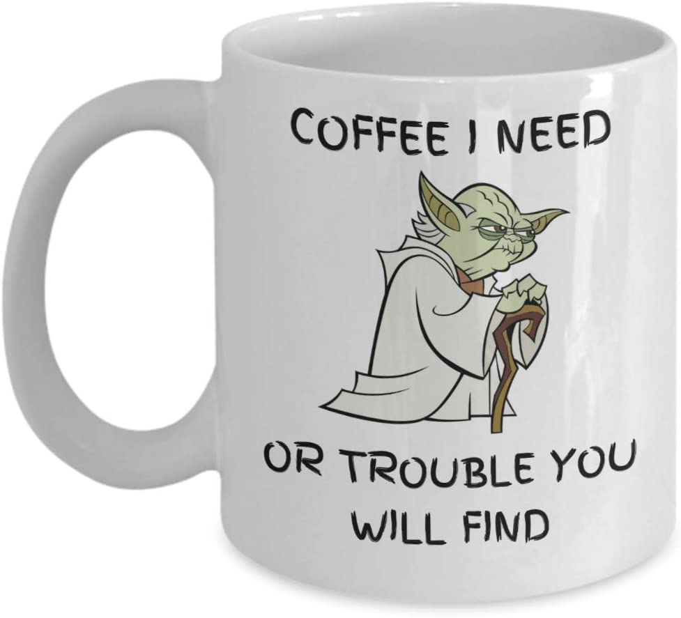 I Need Coffee Or Trouble You Will Find Mug - Funny Novelty Coffee Mugs, Great Gift Cup Idea for Any Occasion Such as Father's Day, Mother's Day, Christmas, Birthday, Valentine's Day, etc (White, 11oz)