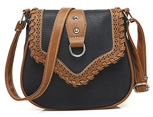 Cross Stud Body (QZUnique Women's PU Sanddle Bag Studs Crossbody Handbag Hobo Access Shoulder Bag Black)