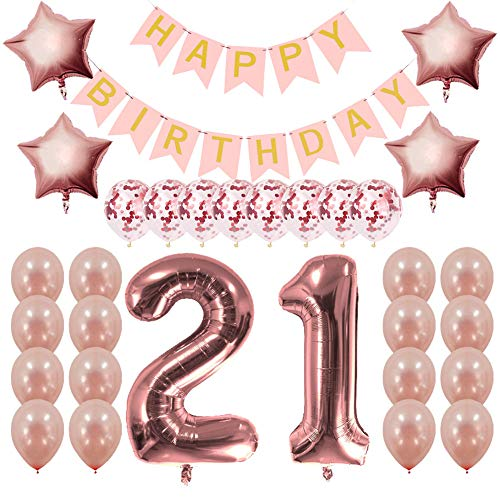 Rose Gold 21st Birthday Decorations Party Supplies Gifts for Her - Create Unique Events with Happy Birthday Banner, 21 Number and Confetti Balloons ()