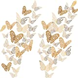 Bememo 72 Pieces 3D Butterfly Wall Decals Sticker Gold Wall Decal Decor Art Decorations Sticker Set 3 Sizes for Room Home Nursery Classroom Offices Kids Girl Boy Bedroom Bathroom Living Room Decor