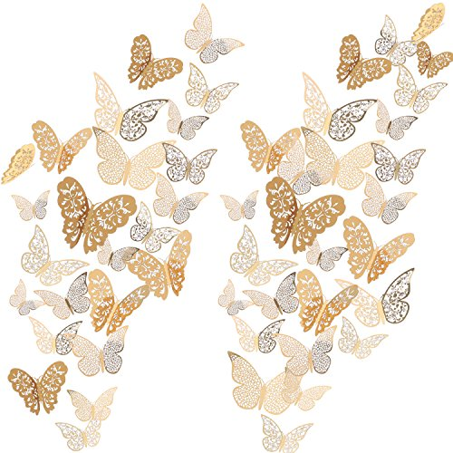 Bememo 72 Pieces 3D Butterfly Wall Decals Sticker Wall Decal Decor Art Decorations Sticker Set 3 Sizes for Room Home Nursery Classroom Offices Kids Girl Boy Bedroom Bathroom Living Room Decor (Gold)