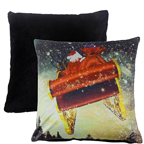 FILLED CHRISTMAS SANTA PRESENTS SLEIGH REINDEER SOFT VELVET RED CUSHION 17