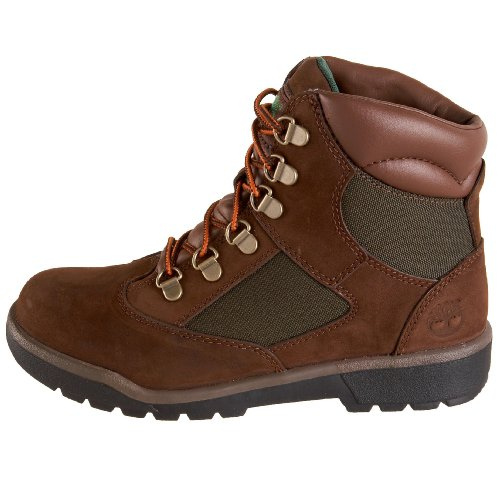 Timberland 6-Inch Leather and Fabric Field Boot (Toddler/Little Kid/Big Kid),Brown Nubuck with Green,6 M US Big Kid