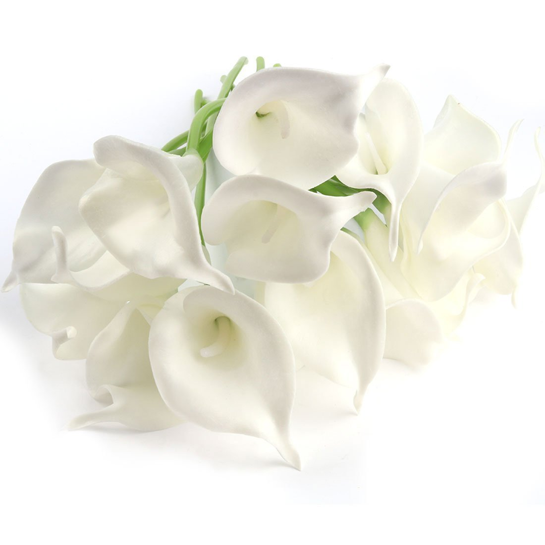 Amazon 20 pcs artificial calla lily flowes muyee real touch amazon 20 pcs artificial calla lily flowes muyee real touch fake flowers wedding bouquets home decorations white home kitchen izmirmasajfo