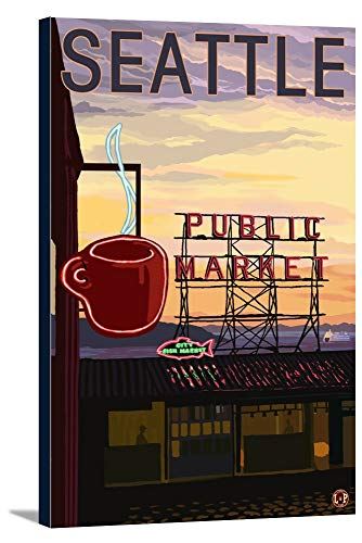 Pike Place Market - Sign and Water (24x36 Gallery Wrapped Stretched Canvas) ()