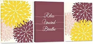 iHAPPYWALL 3 Pieces Bath Flowers Wall Art Relax Unwind Breathe Funny Bathroom Sign Picture Art Print Stretched and Framed for Spa Yoga Bedroom Wall Decor Ready to Hang 12x16inchx3pcs