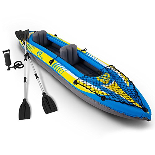 Goplus Inflatable Kayak 3 Seperate Air Chambers with Aluminum Alloy Oar and Hand Pump Inflatable Boat Canoe for Adults