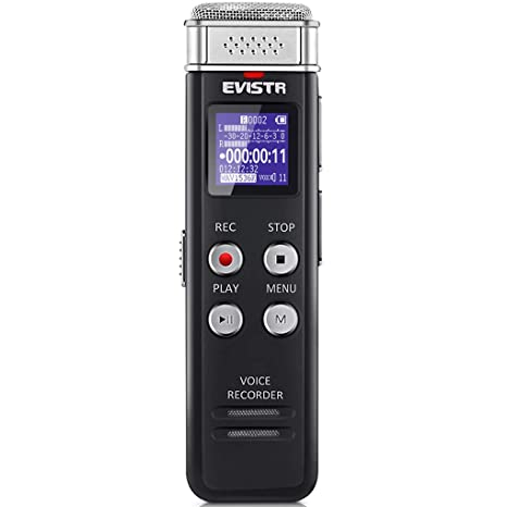 EVISTR 16GB Digital Voice Recorder Voice Activated Recorder with Playback -  Upgraded Small Tape Recorder for Lectures, Meetings, Interviews, Mini