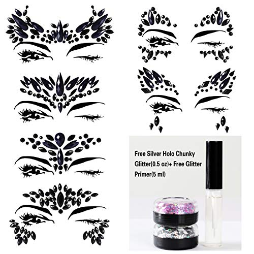 6 Sets Black Mermaid Body Chest Face Eyes Gems Rhinestones Jewels Crystals Jewelry Stickers Temporary Tattoo for Music Festival Party Carnival By GADGETS ENTREPOT(Pack #17)