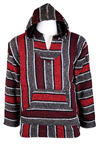Canyon Creek Striped Woven Baja Jacket Coat Hoodie (Burgundy, XX-Large)