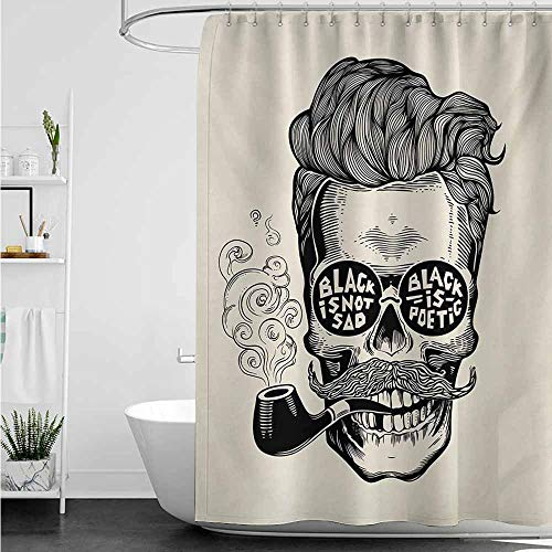 - home1love Bathtub Splash Guard,Indie Hipster Gentleman Skull with Mustache Pipe and Eyeglasses with Inscription Vintage,Shower Curtains in Bath,W72x84L,Black Cream