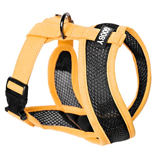Gooby - Active X Head-in Harness, Choke Free Small Dog Harness with Synthetic Lambskin Soft Strap, Orange, Large