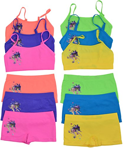 ToBeInStyle Girl's Pack of 6 Set of Bras & Boyshorts - Underwater Diver - Small