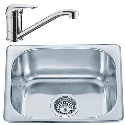 Cucina Lavello Incasso lavello in acciaio inox e piccolo rubinetto ...