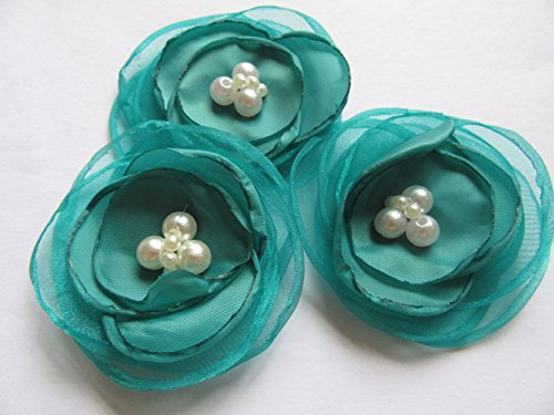 """YYCRAFT Pack Of 6 Organza Fabric 2.5"""" Poppy Flower Pearl-Teal"""