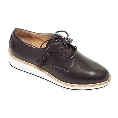 Comparison Shopping Marlo Platform Oxford Women Womens Black Leather Linea Paolo Womens Flats