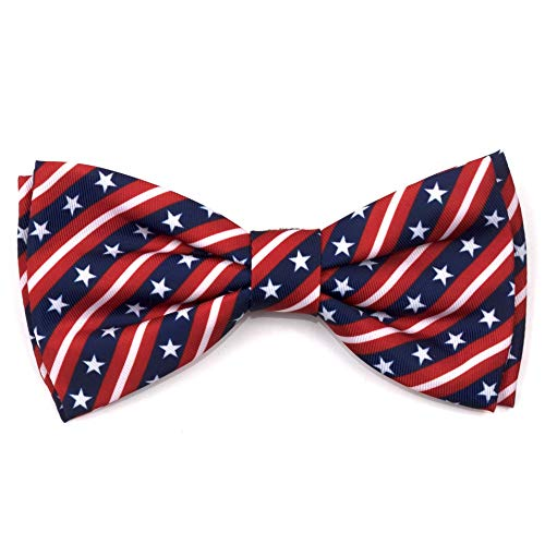 The Worthy Dog Stars and Stripes Pattern Bow Tie for Pets Red/White/Blue, SM
