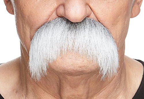 Mustaches Self Adhesive Fake Mustache, Novelty, Walrus False Facial Hair, Costume Accessory for Adults, Costume Accessory for Adults, Gray with White -