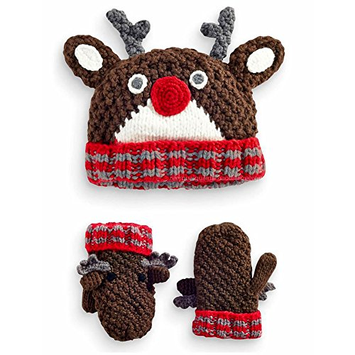 Funny Headgear (IMLECK Antlers Shape Hand Knit Headgear Baby Child Hat and Mitten Set)
