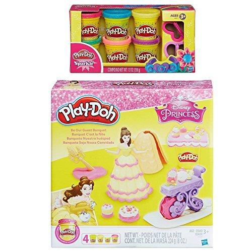 Play-Doh Be Our Guest Banquet Featuring Disney Princess Belle + Play-Doh Sparkle Compound Bundle - Lumiere Creme