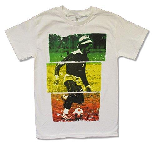 Bob Marley Football - Zion Adult Bob Marley Soccer on White T Shirt (Small)