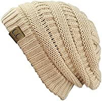 Trendy Warm Chunky Soft Stretch Cable Knit Beanie Skully, New Beige