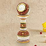 Diwali corporate Home decor Gift idea sale Gold Painted Meenakari Work Marble Pillar Watch 6 inch height in white gift box