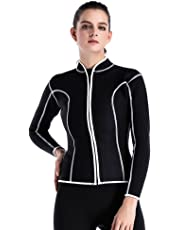 095829d1ad1 Lynddora Womens Long Sleeve 2MM Neoprene Diving Jacket Front Zipper Wetsuit  Top Warm Protection