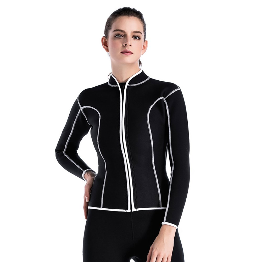 Lynddora Womens Long Sleeve 2MM Neoprene Diving Jacket Front Zipper Wetsuit Top Warm Protection (Black White, US L/Tag XXL) by Lynddora
