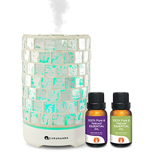 Crystal Diffuser - Essential Oils Starter Kit - Silver Crystal Ultrasonic Diffuser, Aromatherapy Best Oil Diffuser, Essential Oils Diffuser Kits, Color Changing, Humidifier, Essential Oils Set, Auto Shutoff, GuruNanda