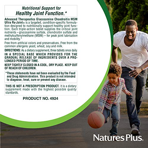 Natures Plus Glucosamine/Chondroitin/MSM Ultra Rx-Joint Tablets - 180 Count, Extended Delivery - High Potency Joint Support Supplement - Gluten Free - 60 Servings by Nature's Plus (Image #6)