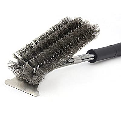 "BBQ Grill Brush and Scraper 18"" Stainless Steel Barbecue Grill Brush Bristles Cleaning Brush for Weber Gas Charcoal Grill, Includes Extendable BBQ Forks by Morgofun"