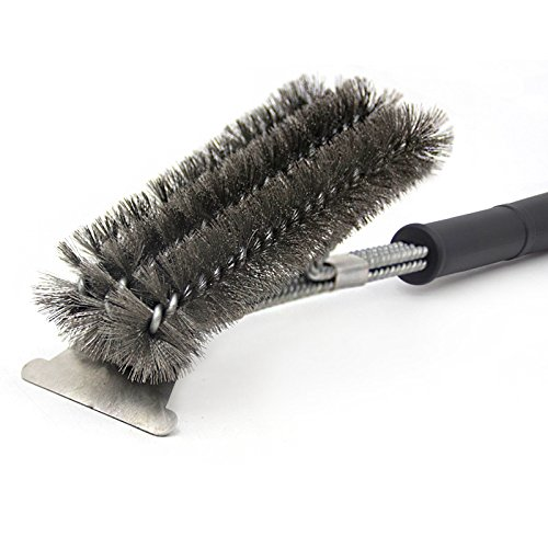 "BBQ Grill Brush and Scraper 18"" Stainless Steel Barbecue Grill Brush Bristles Cleaning Brush for Weber Gas Charcoal Grill, Includes Extendable BBQ Forks"