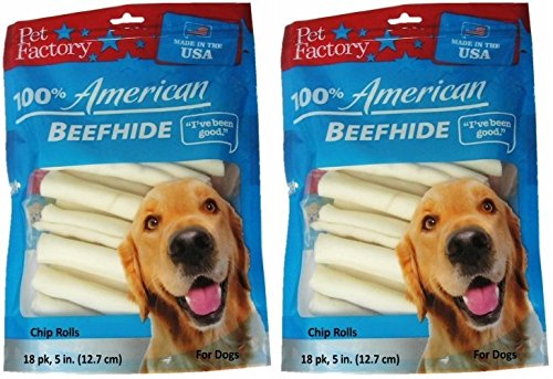 (2 Pack) Pet Factory U.S.A. Beef Hide Chip Rolls Chews for Dogs , Small / 5