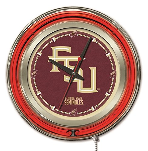 Holland Bar Stool Company NCAA Florida State Seminoles Double Neon Ring Logo Clock, 15-Inch Diameter, Chrome